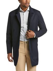 Mens Outerwear - Awearness Kenneth Cole Navy Classic Fit Packable Raincoat - Men's Wearhouse