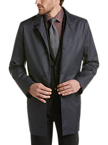 Mens Outerwear - Awearness Kenneth Cole Navy Check Raincoat - Men's Wearhouse