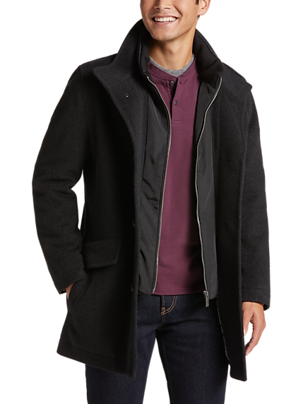 Pronto Uomo Charcoal Classic Fit Car Coat