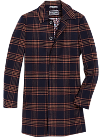 Men's Vintage Jackets & Coats Paisley  Gray Slim Fit Car Coat Pumpkin  Navy Plaid $206.50 AT vintagedancer.com