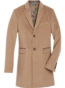 Men's Vintage Jackets & Coats Paisley  Gray Slim Fit Topcoat Camel $174.99 AT vintagedancer.com