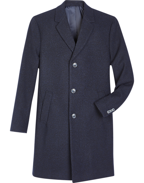 Reaction Kenneth Cole Navy & Black Tic Modern Fit Topcoat