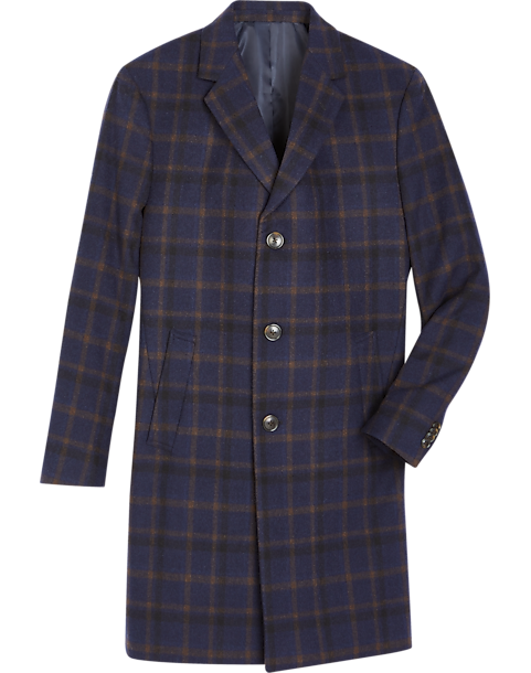 Reaction Kenneth Cole Navy Plaid Modern Fit Topcoat