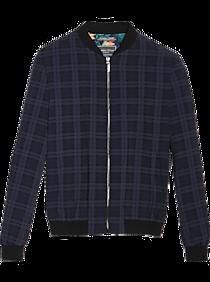 60s 70s Men's Jackets & Sweaters Paisley  Gray Slim Fit Athleisure Jacket Navy Windowpane $99.99 AT vintagedancer.com