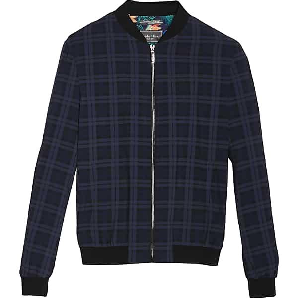 50s Men's Jackets | Greaser Jackets, Leather, Bomber, Gabardine Paisley  Gray Mens Slim Fit Athleisure Jacket Navy Windowpane - Size XXL $99.99 AT vintagedancer.com