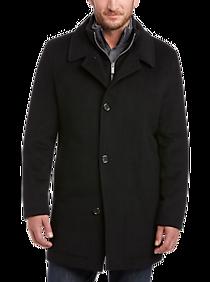 Mens Outerwear - Pronto Uomo Black Classic Fit Car Coat - Men's Wearhouse