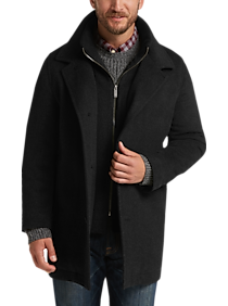 Pronto Uomo Black Tic Classic Fit Car Coat