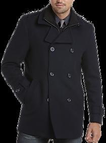 Mens Peacoats, Outerwear - Egara Dark Navy Modern Fit Wool Peacoat - Men's Wearhouse