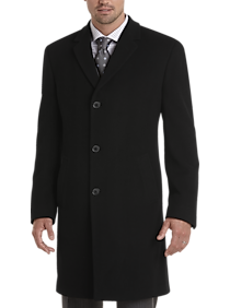 Mens Extra 30% Off Clearance, Outerwear - Joseph Abboud Black Cashmere Blend Modern Fit Topcoat - Men's Wearhouse