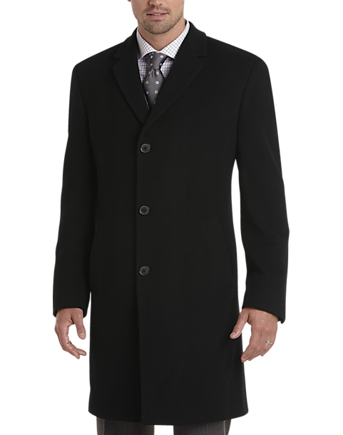 Joseph Abboud Black Cashmere Blend Modern Fit Topcoat