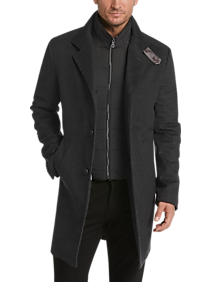 Mens Car Coats, Outerwear - JOE Joseph Abboud Charcoal Modern Fit Car Coat - Men's Wearhouse