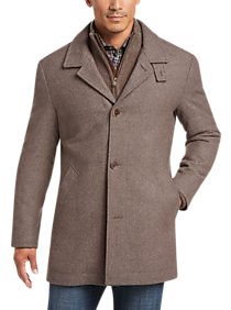 Mens Car Coats, Outerwear - Joseph Abboud Tan Modern Fit Twill Car Coat - Men's Wearhouse