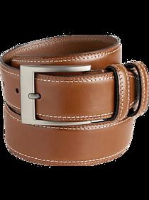 Joseph Abboud Cognac Stitched Edge Belt