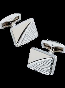 Mens Jewelry and Cufflinks, Accessories - Pronto Uomo Silver-Tone Stripe Cufflinks - Men's Wearhouse