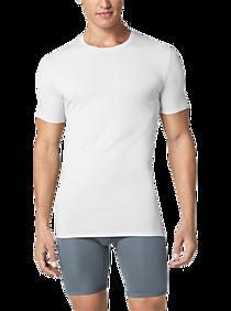 Mens Underwear, Accessories - Tommy John Second Skin High Crew Neck Stay Tucked Undershirt, White - Men's Wearhouse