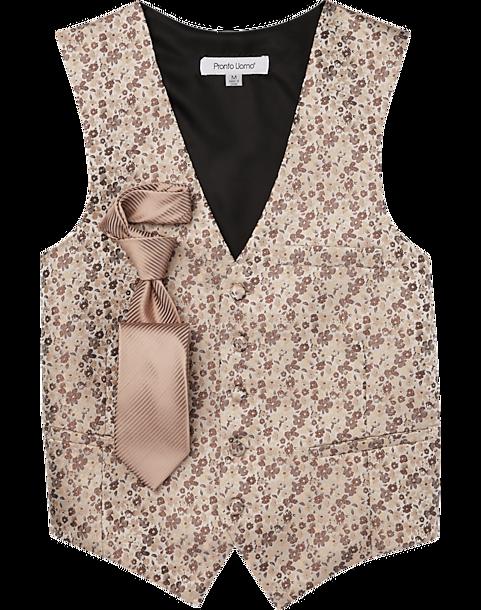 Pronto Uomo Rose Gold Floral Vest & Tie Set - Men's Suits ...