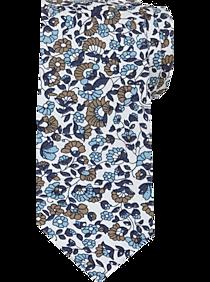 Mens Ties, Accessories - Egara White & Blue Floral Skinny Tie - Men's Wearhouse