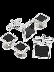 Pronto Uomo Silver and Black Cufflinks and Stud Set