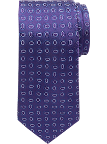 Awearness Kenneth Cole Purple Oblong Medallion Narrow Tie