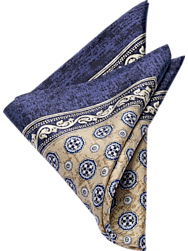 Joseph Abboud Navy & Taupe Medallion Pocket Square