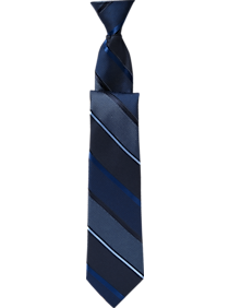 Mens Boys Accessories, Accessories - Joseph Abboud Boys Blue Stripe 17-Inch Zippered Tie - Men's Wearhouse