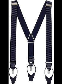 Mens 30% Off Accessories, Clothing - Egara Navy Lattice Convertible Suspenders - Men's Wearhouse