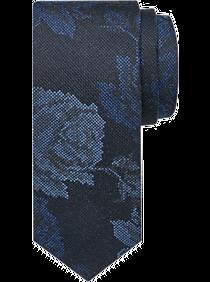 Mens 50% Off Ties, Accessories - JOE Joseph Abboud Black Floral Pattern Narrow Tie - Men's Wearhouse