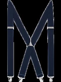 Egara Navy Stripe Clip Suspenders, Big & Tall