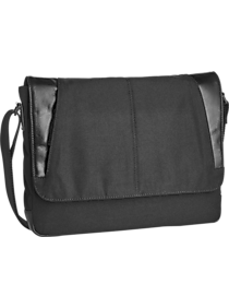 Mens - JOE Joseph Abboud Black Canvas & Leather Messenger Bag - Men's Wearhouse