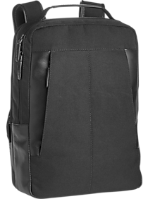 JOE Joseph Abboud Black Leather and Canvas Backpack