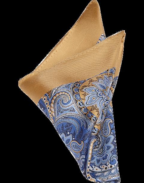 Joseph Abboud Gold & Blue Paisley Pocket Square - Men's ...