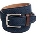 Cole Haan Navy Suede Tooled Belt