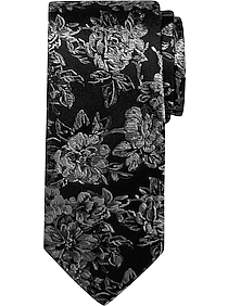 Joseph Abboud Black and Gray Floral Narrow Tie