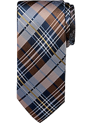 Pronto Uomo Brown Plaid Narrow Tie