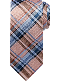 Mens Ties, Sale - Pronto Uomo Apricot Plaid Narrow Tie - Men's Wearhouse
