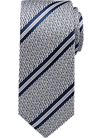 Mens Ties, Accessories - Egara Navy Stripe Narrow Tie - Men's Wearhouse