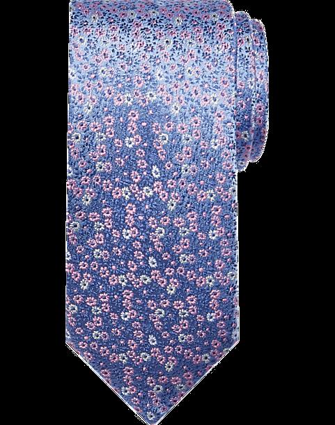 Pronto Uomo Narrow Tie, Pink & Blue Floral